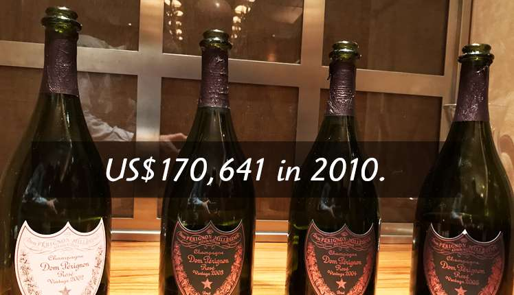 A lot of Dom Perignon Rose Enotheque was auctioned for US$170,641 in 2010